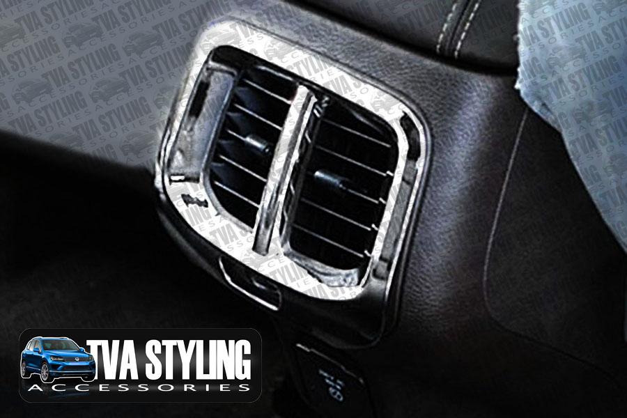 Jeep cherokee kl 2014 on chrome interior rear center vent cover surround tva uk ebay for Jeep cherokee interior accessories