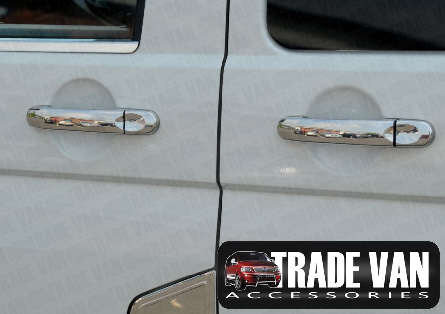VW T5 TRANSPORTER CADDY CHROME DOOR HANDLE COVERS STAINLESS STEEL 4 ...